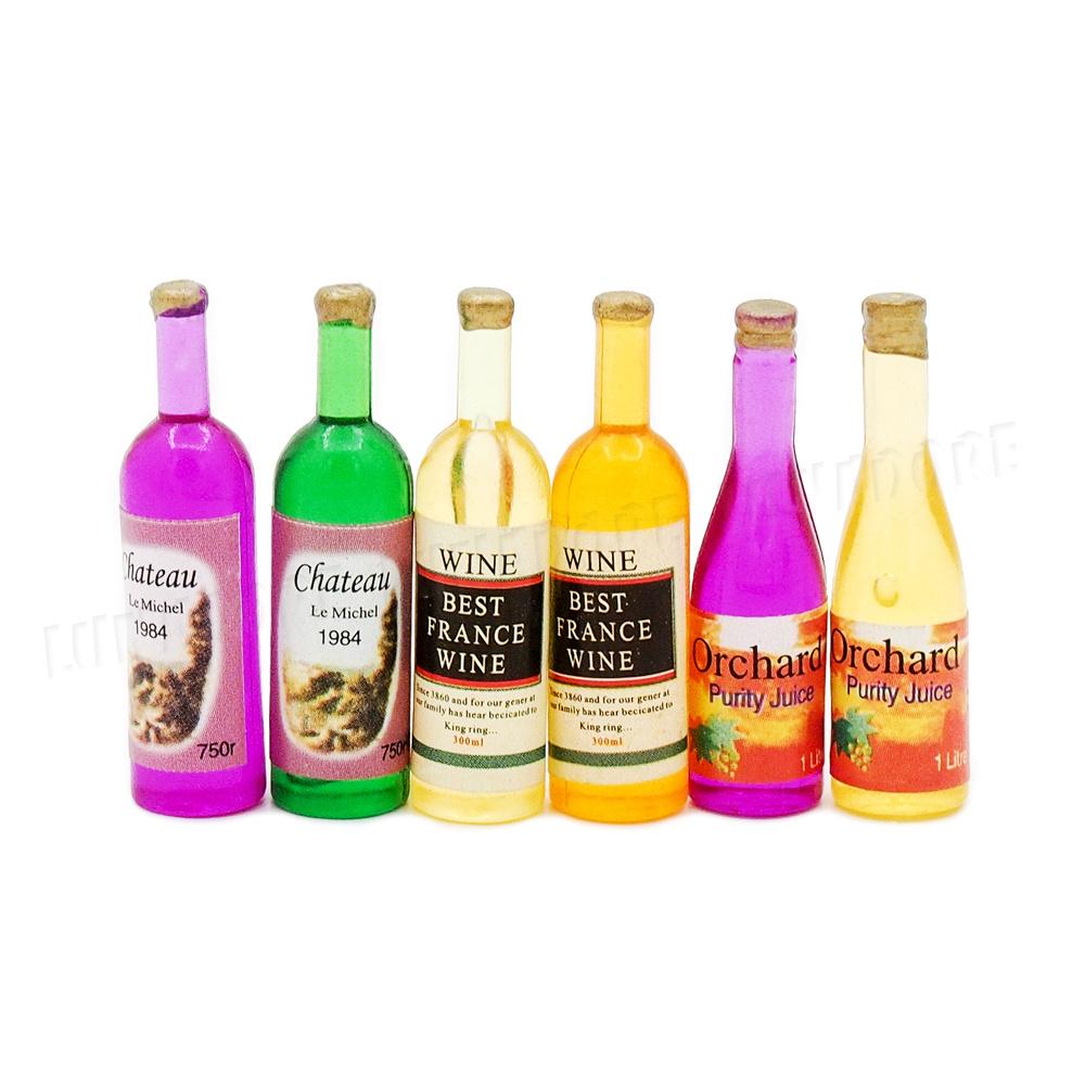6 pcs Dollhouse Bottles Miniature Beverages Bottle Bar Supplies Beverages 1:12