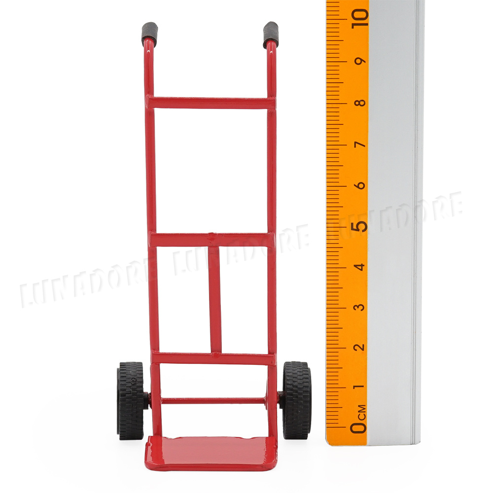 1//12 Scale Black Metal Moving Dolly Dollhouse Miniature Hand Truck Dolies