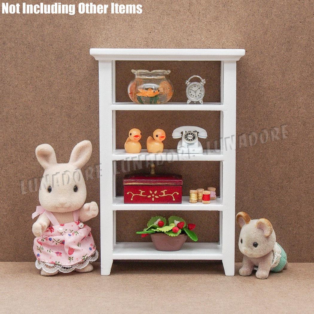 1:12 Dollhouse Miniature 4-Tier White Shelving Storage Wooden Furniture Bookcase