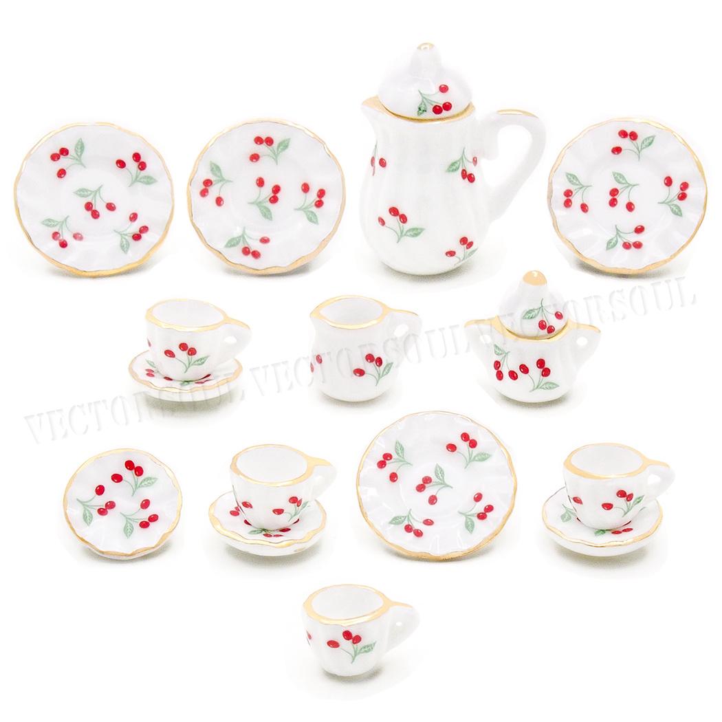 Dollhouse Miniature Set di 15 porcellana tè alla fragola Cup Set 1:12 in Ceramica Top