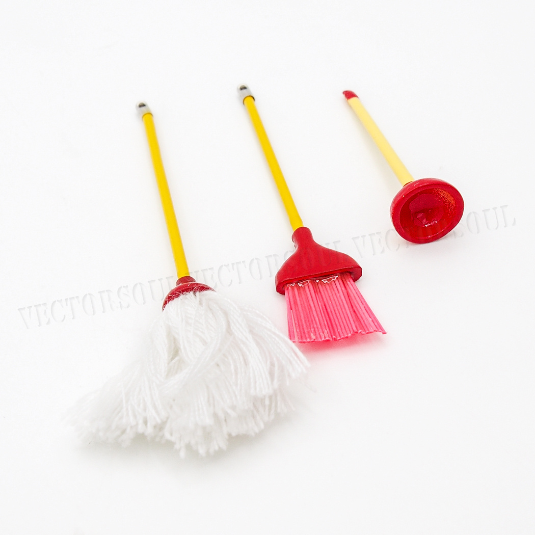 Miniature Toilet Brush w//Wooden Handle DOLLHOUSE 1:12 Pipe Cleaner Brush