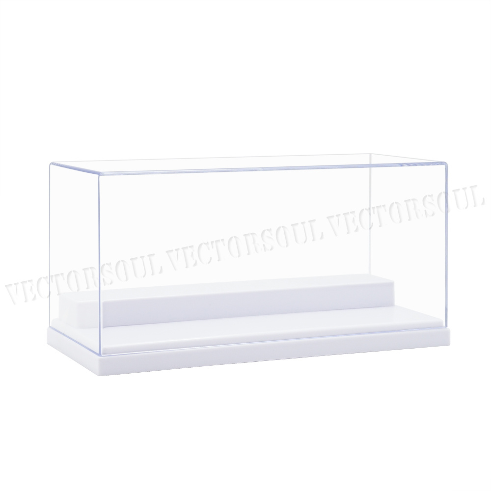US 2Steps Clear Acrylic Display Case 7.6inch L Plastic White Base Box Dustproof