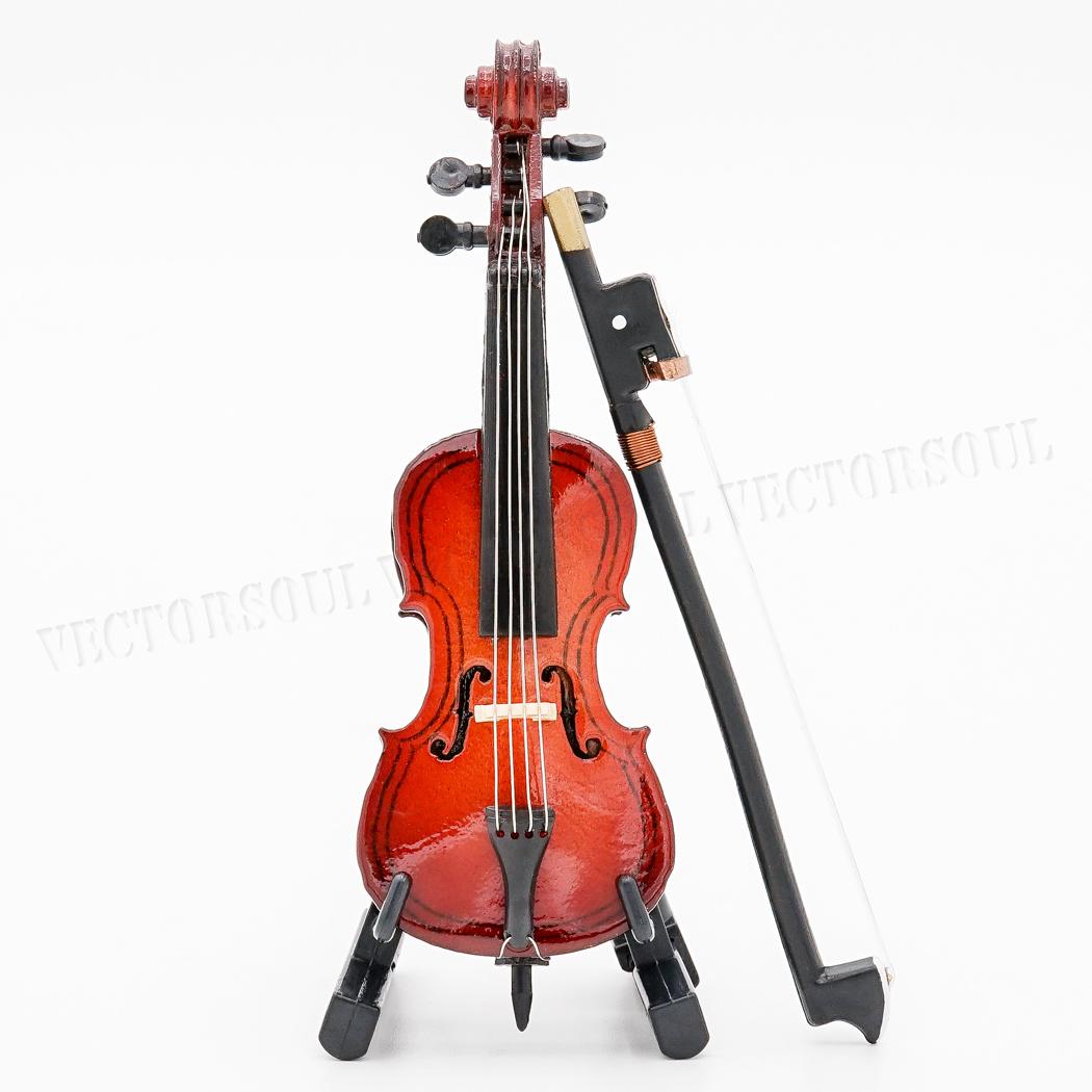 Dollhouse Miniature Musical Instrument Wooden Guitar Decor w// Case n Stand 1:12