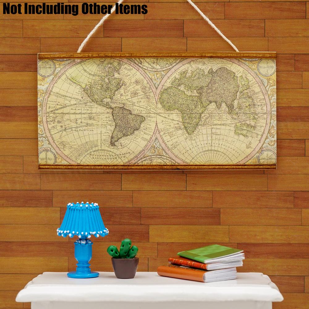 1:12 Miniature World Map Wall Hanging Simulation Furniture Room Decor Dollhouse