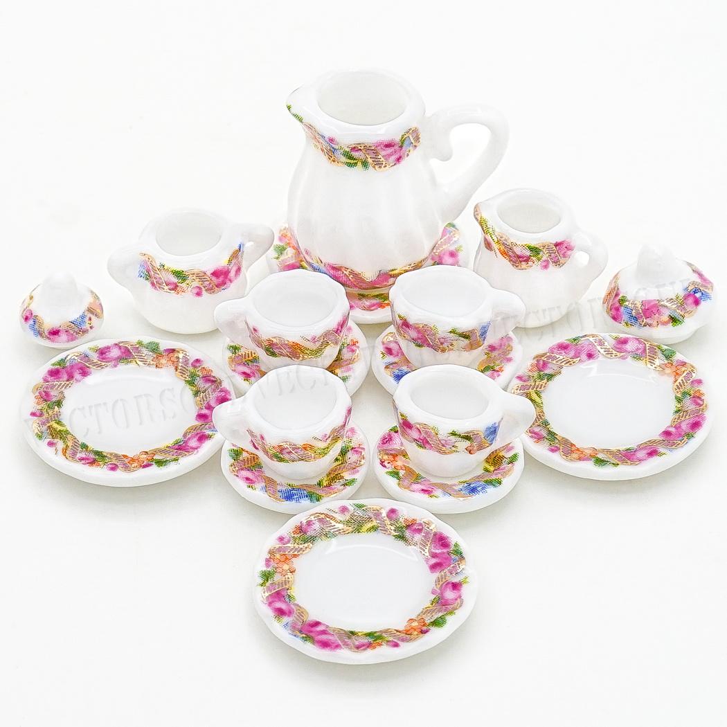 Dollhouse Miniature 15pcs Porcelain Flowers Tea Cup Set 1:12 Ceramic Tableware