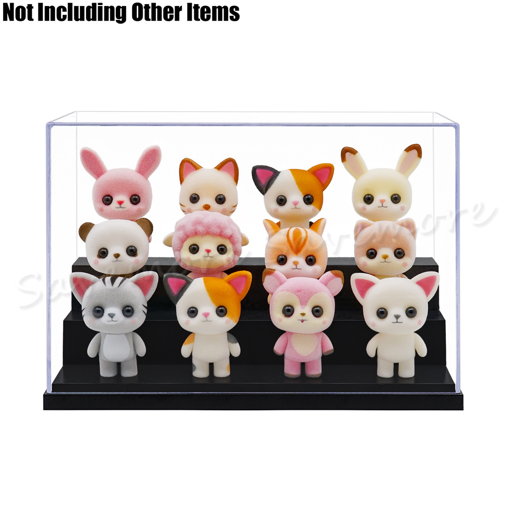 """8/""""L x6/""""W x6/""""H 3 Steps Acrylic Display Case Box for Doll Figure Model Toys"""