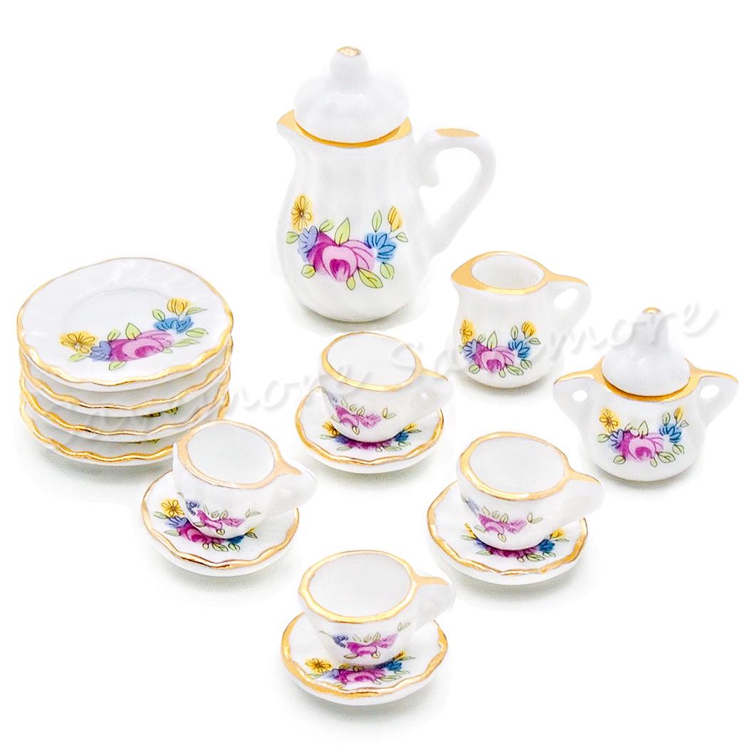 15PCS Porcelain Tea Set Coffee Tea Cup Dollhouse China Ceramic Miniature Beauty
